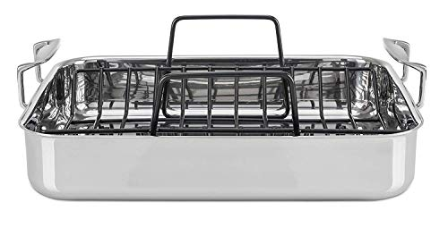 Viking Culinary 4013-9902 3-Ply Stainless Steel Roasting Pan with Nonstick Rack + BONUS 8 Carving Set, 16 Inch by 13 Inch