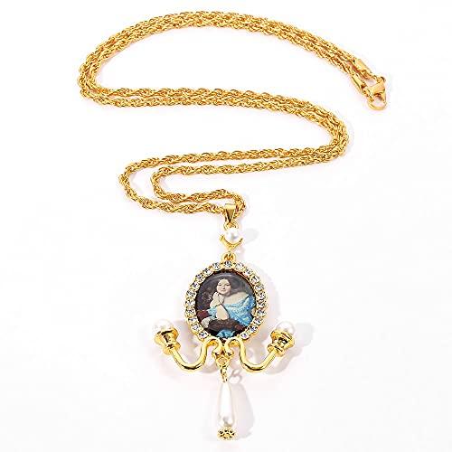 VAWAA Collar de Gota exagerado de Estilo Barroco Vintage para Mujer, Collar de Perlas con Pintura al óleo Larga y Grande, joyería de Boda Retro