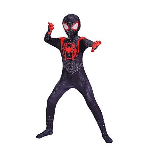 Diudiul Spiderman Costume De Cosplay Costume De Costume pour Enfant (S(110-120cm), Noir)
