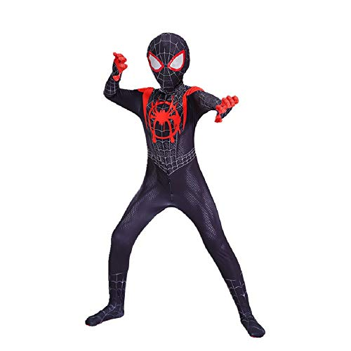 Diudiul Kids Superheld Spiderman Kostüme für Kinder Action Dress Ups und Zubehör Party Cosplay Kostüm (S(110-120cm), Schwarz-Kind)