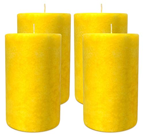 Citronella Pillar Candles - 4 Pack - Scented Citronella Candles - 3 Inch x 5 Inch - 67 Hour Burn Time - Large Citronella Candles Outdoor and Indoor Use