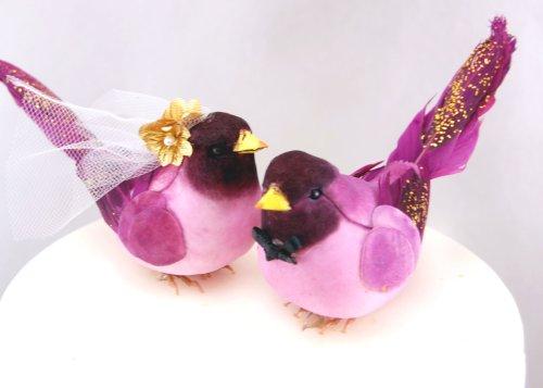 Fancy fringuelli: Topper per torta, motivo: 'Bride and Groom' Love-Decorazione per torta di matrimonio, motivo: uccellino, colore: Viola scuro/Oro