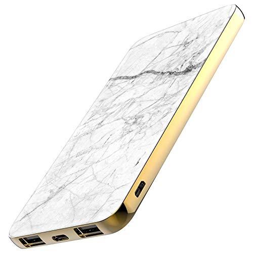 TheSmartGuard Powerbank 6000mAh Externer Akku mit USB-C Port Ladegerät kompatibel für iPhone XS/XR/X Samsung S10/S9/S8 Note 9 Huawei P30 und viele mehr | Marmor Marble White&Black Weiß Schwarz