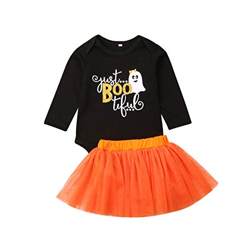 jsadfojas Toddler Newborn Baby Girl My 1st Halloween Fancy Pumpkins Pagliaccetto Tutu Tulle Gonna Outfit Set di Vestiti (Arancia, 18-24m)