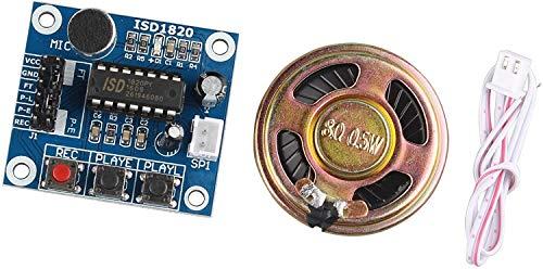 HALJIA Sonido de Audio ISD1820 módulo de reproducción de grabación de Voz con micrófono Sonido Audio + Altavoz Altavoz