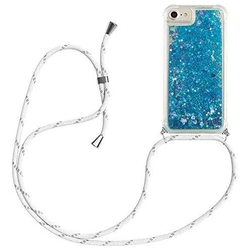 HongMan Funda Bling Glitter Liquida con Cuerda para iPhone 7 Plus/8 Plus,Transparente Cristal Suave Silicona TPU Bumper Protector Carcasa con Colgante Ajustable Cordón - Case y Correa