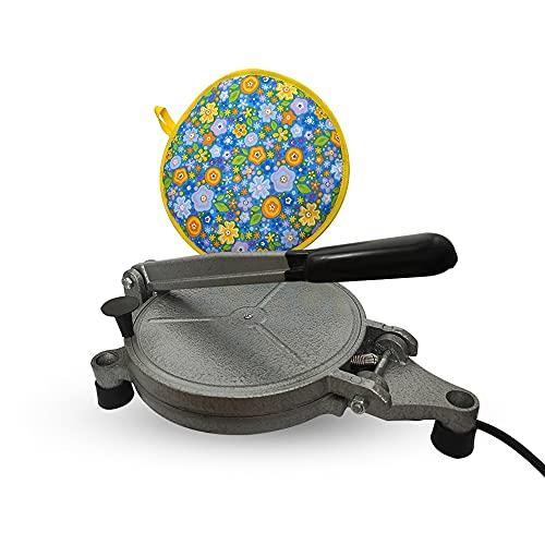 SCENTIRA Flour Tortilla Press Electric Tortilla Maker Machine - 8 Inch Non Stick Cast aluminium Stainless Steel Plates Corn Delicious Recipes Bonus thermal tortillero 110V