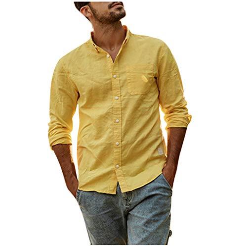 Dragon868 Botón de Lino Camisas de algodón para Hombres Camisetas de Manga Larga de Verano (Amarillo,L)