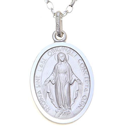 Medalla Colgante de Plata de Ley de la Virgen Milagrosa, con Cadena 18 pulgadas - 20 mm.