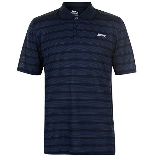 Slazenger Herren Gestreift Polo Shirt Kurzarm Marineblau 3XL