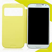 [Expedited] Minimalist Solid Color PU Leather for Samsung Galaxy S4 Mini I9190 (Assorted Colors) Easy to protection phone. (Color : Yellow, Compatible Models : Galaxy S4 Mini)
