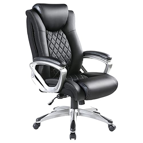 BOWTHY Big and Tall Office Chair 300lbs Computer Ergonomic Desk Chair with Adjustable Lumbar Support High Back Executive Task Swivel Leather (Black)