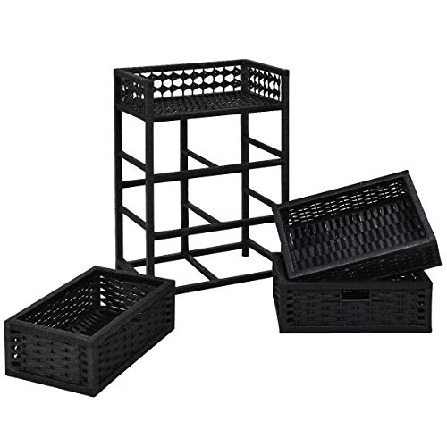 Storage Unit Tower Shelf Wicker Baskets Storage Chest Rack Black 3 Drawer
