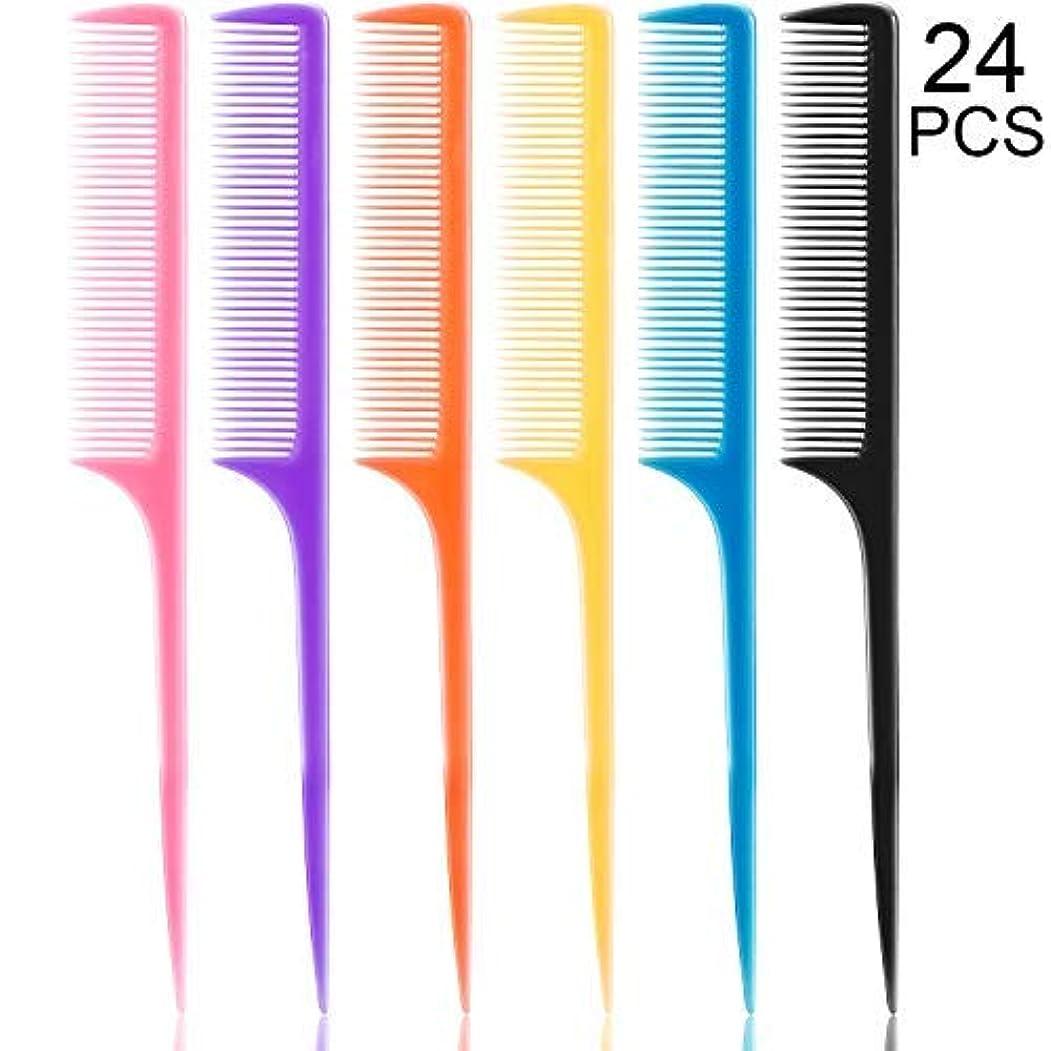 半導体メールパケット24 Pieces Plastic Rat Tail Combs 8.5 Inch Fine-tooth Hair Combs Pin Tail Hair Styling Combs with Thin and Long Handle, Assorted Colors [並行輸入品]