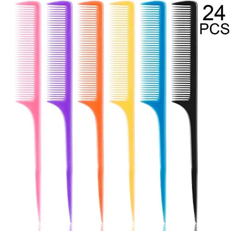 ええ割れ目避けられない24 Pieces Plastic Rat Tail Combs 8.5 Inch Fine-tooth Hair Combs Pin Tail Hair Styling Combs with Thin and Long Handle, Assorted Colors [並行輸入品]