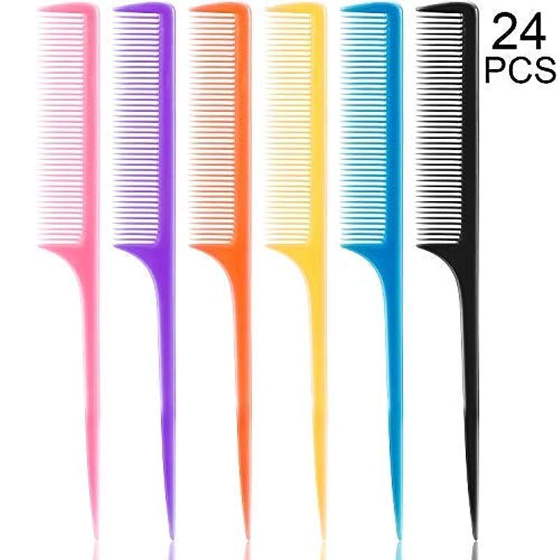傷つける力学オーナメント24 Pieces Plastic Rat Tail Combs 8.5 Inch Fine-tooth Hair Combs Pin Tail Hair Styling Combs with Thin and Long Handle, Assorted Colors [並行輸入品]