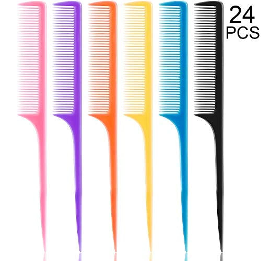 問い合わせる生むマルコポーロ24 Pieces Plastic Rat Tail Combs 8.5 Inch Fine-tooth Hair Combs Pin Tail Hair Styling Combs with Thin and Long Handle, Assorted Colors [並行輸入品]