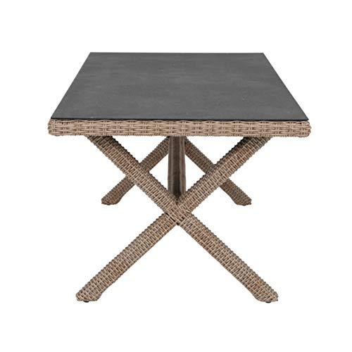 Ribelli Rattan eettafel 'Sona' - eettafel xtafel tuintafel terrastafel tuinmeubelen tafel 160 x 90 x 78,5 cm