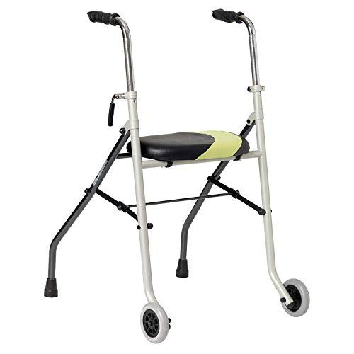 Andador muy ligero| Ayuda para las personas de movilidad reducida| Patas fijas traseras y ruedas delanteras| Forma anatómica, ajustable en altura| Acero inoxidable| Materiales de calidad certificada