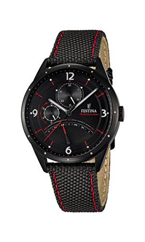 Reloj De Pulsera Festina F16849/2 para Hombre De Cuarzo, con Esfera Negra Analógica Y Correa De Cuero Negra.