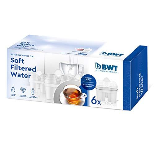 BWT 814561 Soft Filtered Water-Pack Económico de 6 Aguas Blandas para Jarras Filtradoras, Filtros Compatibles con Otros Sistemas de Filtrado Ovales, Plástico