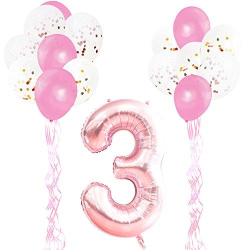 KUNGYO 3rd Verjaardag Feestdecoraties Kit-Giant Rose Goud Nummer 3 Folie Ballon, Roze Linten, Latex Confetti Ballonnen, 18 Delige Feestartikelen Set voor Verjaardag Verjaardag Jubileum