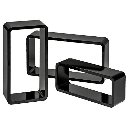TecTake 800704 3er Set Wandregal Hängeregal im Retro Cube Design für Bücher CDs Deko, inkl. Montagematerial - Diverse Farben - (Schwarz | Nr. 403184)