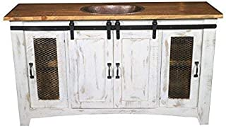70 Inch Distressed White Farmhouse Sliding Barn Door Single Sink Bathroom Vanity Fully Assembled with Copper Drop in Sink Installed (70 Inch, White)