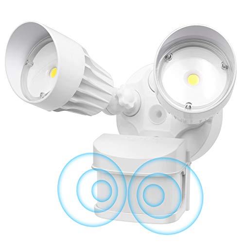 CINOTON LED Flood Light Motion Sensor Light Outdoor, Adjustable Dual-Head Dusk to Dawn Security Light, IP65 Waterproof, 3000 Lumens, 5000K, Upgrade Double Motion Sensor, 36W[250W Equivalent]