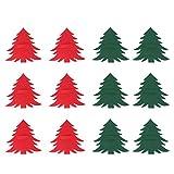 Amosfun 12 Stücke Weihnachtsbaum Besteckhalter für Weihnachten Bestecktasche Besteckbeutel Gabel Messer Geschirr Tasche Weihnachtsdeko Tischdeko(Rot und Grün)