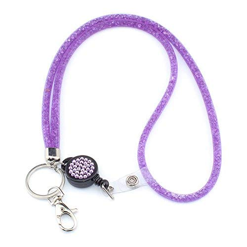 "Bling Lanyard for Women, SAVORI 32.9"" Crystal Lanyards with ID Holder Retractable Rhinestone Lanyard for Keys Wallet Phones Glasses Women Gift (Purple, Retractable Badge)"