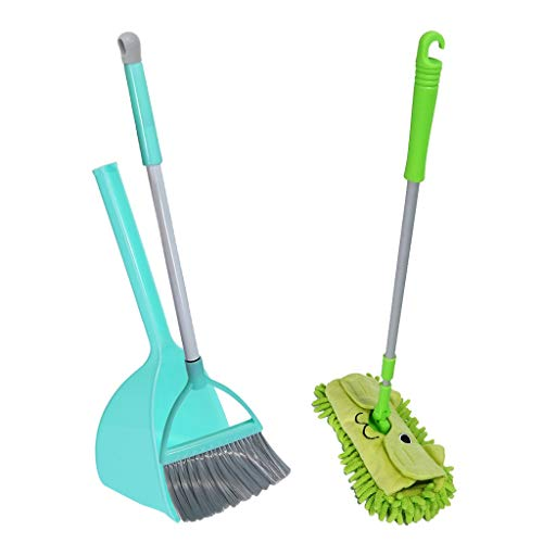 HAIWAI Kid's Housekeeping Cleaning Tools Set, 3 Pcs Pretend Toys Housekeeping Accessories w/Small Mop Small Broom Small Dustpan, Hours of Fun & Pretend Play [US in Stock] (Green)
