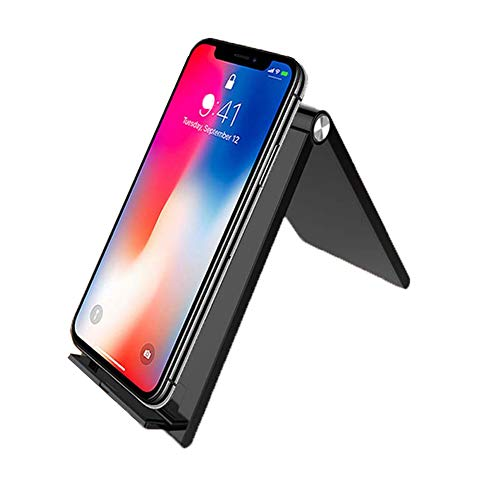 Qi Fast Charge Draadloze oplader, opvouwbaar, draadloze laadpad met houder, Qi Fast Charge voor Samsung Galaxy Note 9/S9/S9 Plus/Note 8/S8, voor iPhone XS MAX/XR/XS/X/8/8 Plus 5 W, andere Qi-mobiele telefoons, zwart.