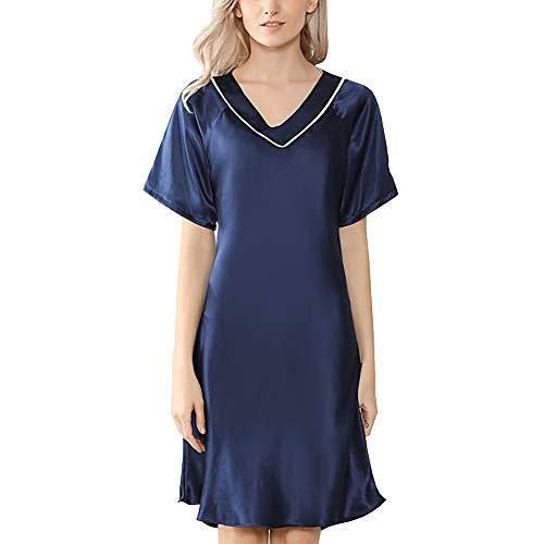 DISSA Damen Seide Nachtwäsche Nachthemd 100% Seide Bademantel sexy Seidenkleid Kurzarm S5637,Blau,XL