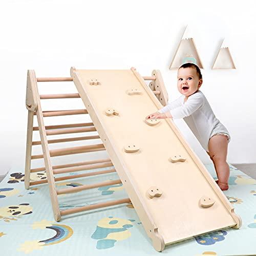 HBIAO Escalador Triangular 2 en 1 con Escalera de Seguridad para Escalar, Gimnasio, Patio de Juegos Interior, Juguetes de Escalada para niños pequeños, niños y niños en Edad Preescolar 1+