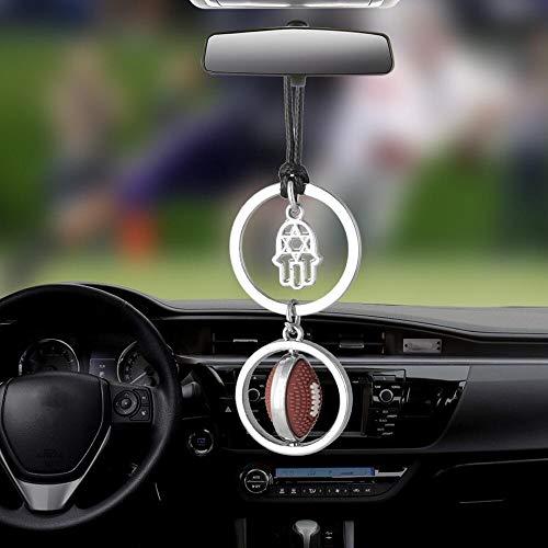 ZYGJ Auto Anhänger hängen Ornamente Hände Spielen Rugby Fußball Automobile Rückspiegel Dekoration Autozubehör Geschenke,Silver with Brown
