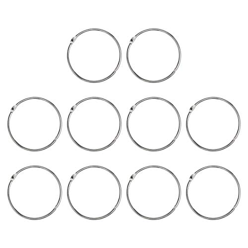 uxcell 10 Pack Metal Curtain 2.5 Inch Rings Snap Joint Circular with Eyelets Drape Ring Loops for Bathroom Livingroom Curtain Rods, Silver Tone