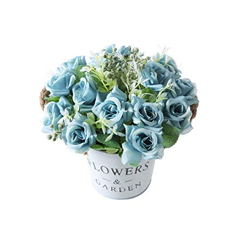 Gumolutin Artificial Flowers Pot, Fake Bonsai Plants in Metal Potted for Home...