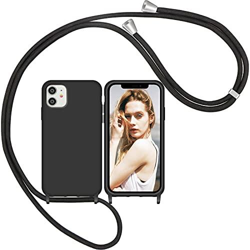 Nupcknn Liquid Silikon Handykette Hülle für iPhone 11 Hülle Silikon Necklace(abnehmbar) Hülle mit Kordel zum Umhängen Handy Schutzhülle mit Band (Schwarz)