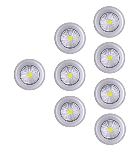 UOTOO Bright Tap Light, Wireless Cob Led Push Light, Battery Powered Stick on Click Night Light for Closet, Cabinet, Shed, Attic, RV, Emergency 8-Pack