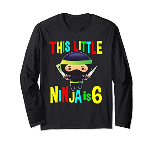 Geburtstag Ninja Geschenke 6 Jahre alt Party Thema Kostüm Langarmshirt
