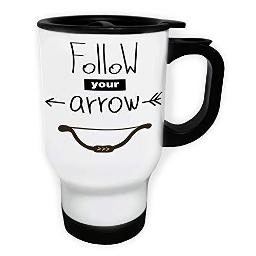 Follow Your Arrow Tasse de voyage thermique blanche 14oz 400ml ff417tw
