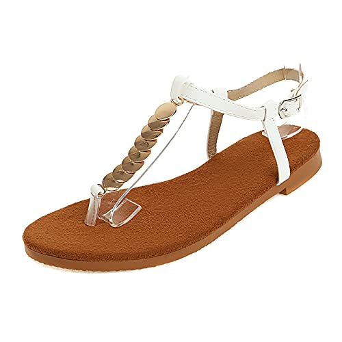 CYNLLIO Sandalias planas de gladiador de verano para mujer con puntera abierta, vendaje con cordones, sandalias romanas de tacón bajo, 4 blanco, 35.5 EU