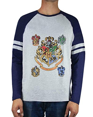 Officially licensed Harry Potter merchandise Perfect for Harry Potter fans Awesome print featuring the Hogwarts and house crests with metallic ink detail Raglan-style tee with contrasting navy sleeves and a regular fit, UK sizing Front & Back: 93% Co...