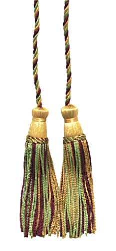 Burgundy, Rose Beige, Light Green Double Tassel / Tassel Tie with 10cm Tassels / Spread 74cm, Style# CDCT Color: Apple Harvest - 873
