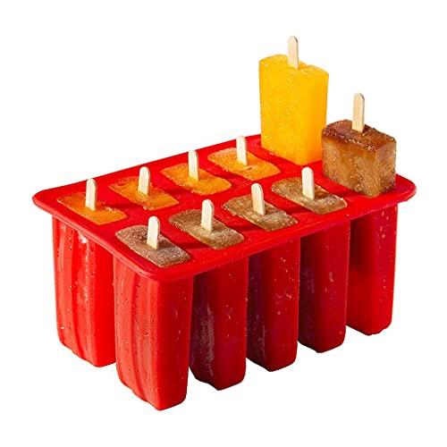 JYDQM 10 Cavity Popsicle Moldes de Silicona de Grado alimenticio Cocina Homemade Cocina Silicona Popsicle Molde Frozen Ice Pop Cream Maker