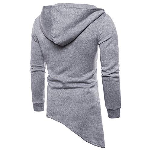 PRJN Men's Vest Hoodies New Casual Fashion Men's Hem Irregular Diagonal Zipper Sport t-Shirt Men's Shirt Diagonal Zipper Men's Casual Slim fit Hooded Cardigan Sweater Men's top Long Sleeve