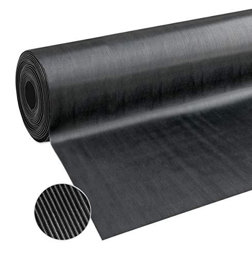 emmevi Tapis en caoutchouc isolant anti-chocs, antidérapant, différentes tailles, noir modèle Tapis rayé en caoutchouc 120 x 150 cm