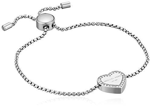 Michael Kors Logo Silver-Tone Slider Bangle Bracelet