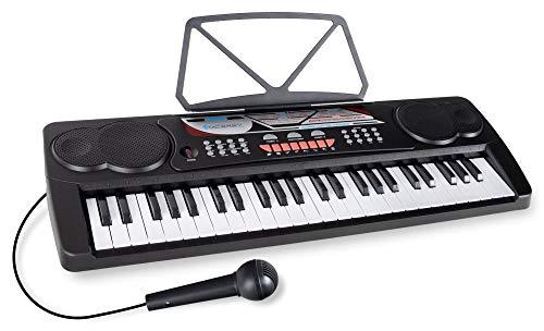McGrey BK-4910BK Keyboard - Kinder Keyboard mit 49 Tasten - Einsteigerkeyboard mit 16 Sounds und 10 Rhythmen - Piano mit Lernfunktion, Mikrofon für Gesang und Notenständer - Schwarz BK-4910